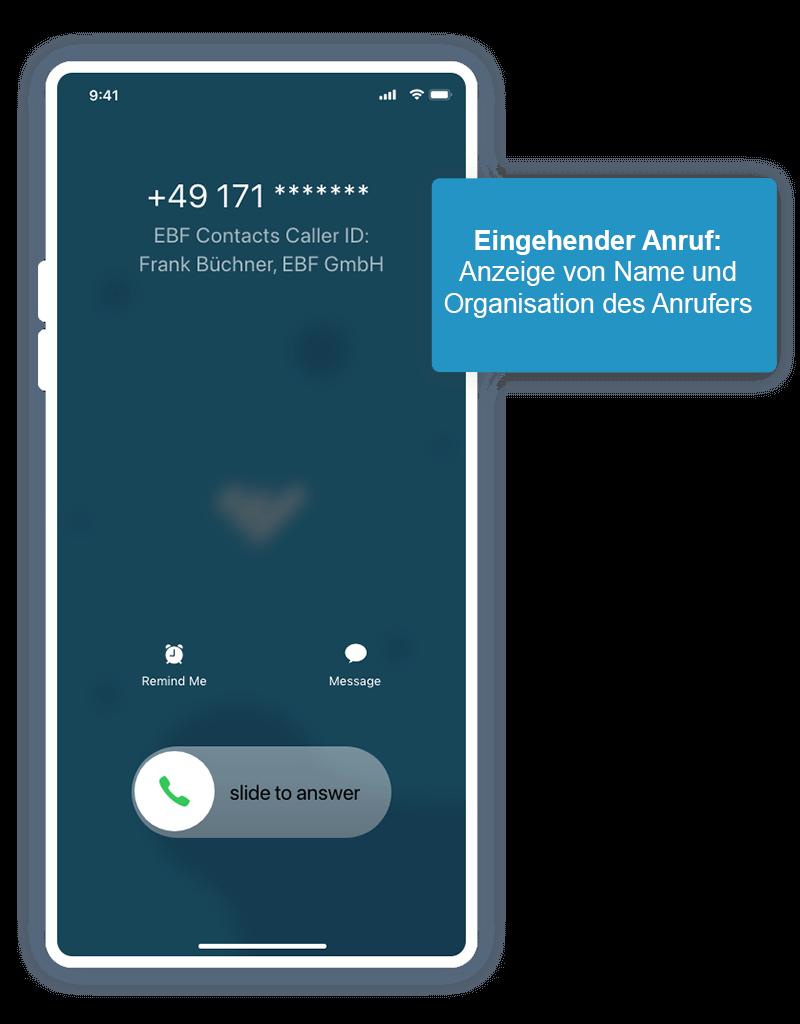 Eingehender Anruf iOS - mobiles Unternehmensadressbuch